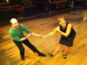 Michael Darigol and Laura Bachman prepare to dance the Lindy Hop for Seattle Dances!